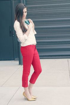blush blouse + red pants