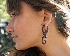 Ma'ayan Curls - Organic Wood Post Earrings Brown. via Etsy.