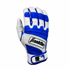 Franklin Sports The Natural II Adult Batting Gloves, Pearl/Royal, Large by Franklin. $23.49. Franklin Adult Natural II Series Batting Gloves Pittards Gripster leather improves grip in wet conditions. Quad-flex decreases buildup between hand and bat. Floating thumb technology increases flexibility. Neoprene bridge gives added flex across back of knuckles. Adult Sizes: S - 2XL. Colors: Black/Black, Pearl/Royal, Navy/Scarlet, Pearl/Scarlet, Pearl/White.