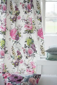 Exotic hand-painted floral arrangements hang gracefully against a refreshing white background. Inspired by the original design. Home Textile, Textile Design, Fabric Design, Autumn Leaves Wallpaper, Rose Cuttings, Contemporary Fabric, Creativity And Innovation, Window Styles, Designers Guild