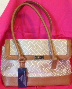 NWT Tommy Hilfiger Camel Brown beige Color Signature Tote Handbag Clutch #TommyHilfiger #TotesShoppers