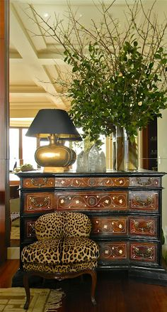 One of a pair of chests flanking the fireplace in the Living Room. Leopard Chair placed elegantly in front of chests _ Marin Designers Showcase - Tucker & Marks Living Room Home Interior, Interior And Exterior, Interior Decorating, Interior Design, Decorating Ideas, Interior Ideas, Beautiful Interiors, Beautiful Homes, Leopard Chair