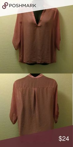 Sheer Pink Tunic Top Pretty pink chiffon long sleeve top. Sheer w/ gold accent buttons. Adored but in excellent condition. Also has sleeve adjusters built in at elbows for folding back sleeves. Cute! Ali & Kris Tops Blouses