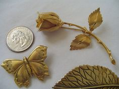 Leaves, Rose, Butterfly--marvelous vintage jewelry whispers of outdoor summertime!
