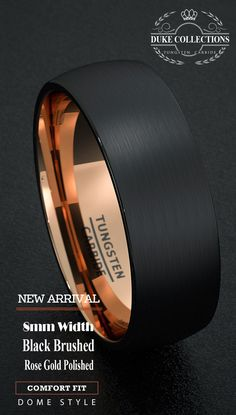 Tungsten Wedding Band Black Men's Ring 8mm Gold Inside Matted Brushed Surface Dome Comfort Fit