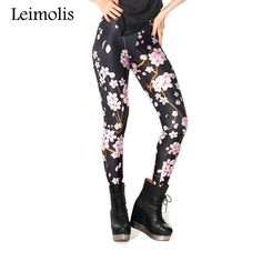 Leimolis 3D printed fitness push up workout leggings women black cherry  blossoms plus size adventure time dfa214c88a8d