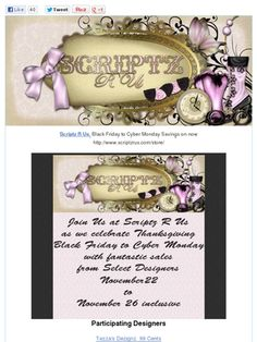 Cyber Monday Final Sale Day at Scriptz R Us Check out this Mad Mimi newsletter