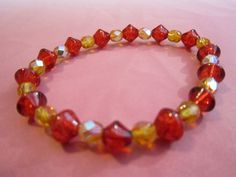 Autumn Red Amber Czech FirePolished Glass by BeadazzlingButterfly, $15.00