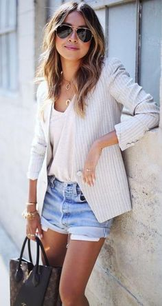 stripe blazer. tee. denim shorts. #cutoffs business casual.