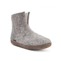 72643793ed83 Klassisk hjemmesko som lav støvle i 100% ren uld til voksne fra Betterfelt  Grå med