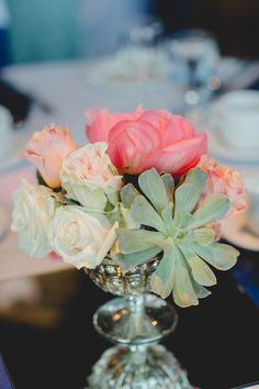 Peony, Rose.and Succulent Centerpiece|  Navy & Coral Classic Spring Wedding in Edmonton|Photographer: ENV Photo