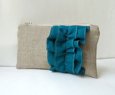 Burlap Ruffle Zipper Clutch in Teal  by JuneberryStitches on Etsy.