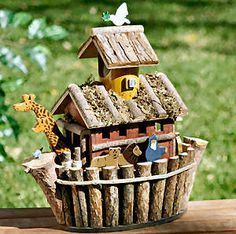 ..OK I want one but with dinosaurs and unicorns on it lol ;-) Noah's Ark bird house