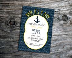 Nautical Anchor Boy Baby Shower Invitation by xxLVE on Etsy, $14.00