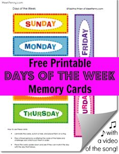Free printable days of the week memory cards with matching video of the song