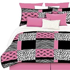 Veratex Stylish Pink Skulls Youth Micro-Fiber Fabric Patterned Bedroom Bed-In-A-Bag, Queen Size, Pink/Black/White Best Quilted Comforter, Set USA Pink And Black Bedding, Pink Bedding, Pink Black, Luxury Bedding, Hot Pink, Full Comforter Sets, Queen Comforter Sets, Black Bedroom Decor, Bedroom Ideas