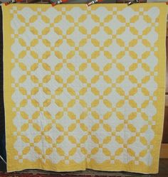 Large 30's Vintage Yellow & White Nine Patch Variation Antique Quilt ~GORGEOUS! | eBay