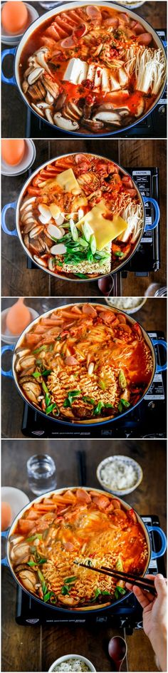 Korean army stew (Budae Jjigae) is a Korean fusion hot pot dish loaded with Kimchi, spam, sausages, mushrooms, instant ramen noodles and cheese. The soup is so comforting and addictive! | MyKoreanKitchen.com K Food, Love Food, Food Porn, Veggie Food, Food Menu, Vegetable Dishes, Korean Dishes, Korean Food, Army Stew