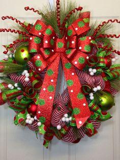 Christmas Mesh Wreath on Etsy $99.00