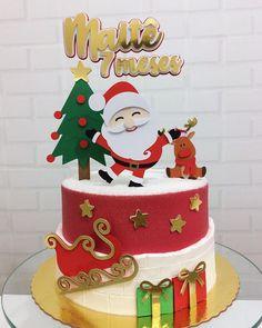 Christmas Cake Designs, Christmas Topper, Christmas Cake Decorations, Christmas Deco, Christmas Birthday Cake, Christmas Cupcakes, Christmas Desserts, Christmas Treats, Bolo Mickey Baby
