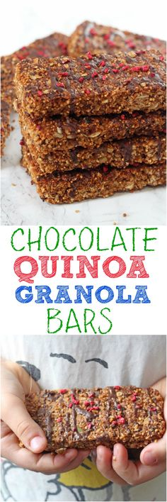 A super tasty and healthy Chocolate Granola Bar packed with oats, puffed quinoa, nuts and seeds. Great for snacks or for lunch boxes too! Gluten free and also dairy free options too.