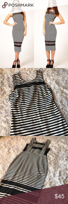 Price⬇️ASOS Striped Mesh Inserts Midi Dress Only worn once so cute ASOS striped stretch dress with mesh inserts on the bottom, front, back, and a little peekaboo on the sides ;). Looks really good on and perfect for giving your body that coke bottle look. ASOS Dresses Midi