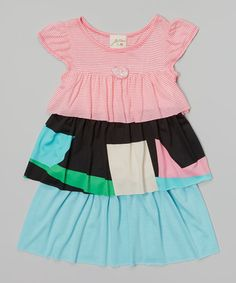 This Pink & Blue Tiered Dress - Toddler & Girls by Vanilla Crème is perfect! #zulilyfinds