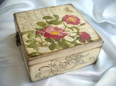 Wooden Decorated Jewelry Box Canker-rose Jewelry Box by KatyaCoil