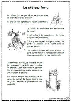 Lecture sur le moyen age, compréhension, texte, questin, chateau fort, ce1