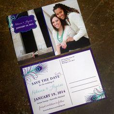 Peacock Wedding: Save the Date Postcard by www.icandothatdes... #peacockwedding #purple #turquoise #savethedate