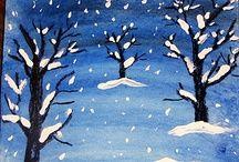 kids winter landscape painting - Google Search