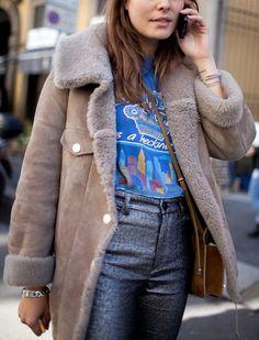 Peau lainée + tee-shirt vintage = le bon mix