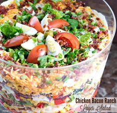 This stunning layered chicken bacon ranch salad is a riff on a classic 7 layer salad. It features layers of green leaf lettuce, peppers, corn, tomatoes, onions, cheddar cheese, roast chicken and crumbled bacon. All dressed in a creamy homemade salad dressing. It's not only beautiful to look at but…