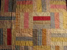Antique Rail Fence Quilt Piece