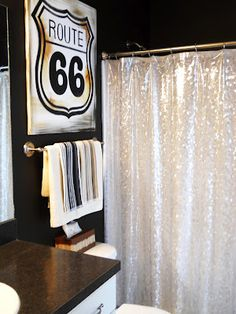 hand-painted Route 66 sign and pretty sparkly shower curtain (HoH97)