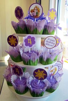 Rapunzel Cupcake Toppers Rapunzel Party Circles by zapparty