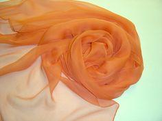 Seidenschal orange 180x55cm Chiffonschal Stola von Textilkreativhof auf DaWanda.com