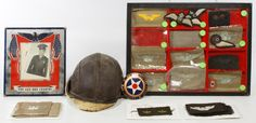 Lot 370: World War II Aviator Assortment; Including assorted patches and aviator cap
