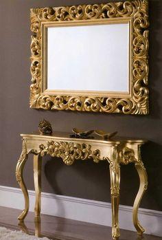 Consolas clasicas TARENTO Oro.  Decoracion Beltran, tu tienda online de consolas. Puedes encontrarla en la tienda on line www.decoracionymadera.com