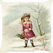 "Retro vintage girl winter coat snow flower basket cushion Cover Throw Pillow 18"""