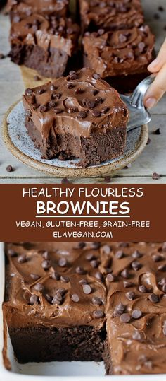 Flourless vegan brownies which are dairy-free egg-free gluten-free oil-free grain-free protein-rich fudgy chocolatey and so rich! Made with chickpeas and other wholesome ingredients! The sweet potato frosting is optional but highly recommended! Dairy Free Recipes, Baking Recipes, Vegan Recipes, Dessert Recipes, Dairy Free Deserts, Cookie Recipes, Egg Free Desserts, Vegan Gluten Free Desserts, Gluten Free Treats