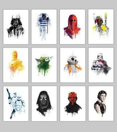 Alternative star wars watercolor Galactic empire 6 characters poster set collection wall art geek promo deal Star wars spaceships and robots Alternative poster Set 12 Posters included: - Darth Vader watercolor - watercolor - Imperial guard watercolor Decoration Star Wars, Star Wars Decor, Star Wars Wall Art, Simbolos Star Wars, Star Wars Gifts, Tatoo Star, Star Wars Tattoo, Tableau Star Wars, R2d2