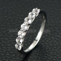 Round Morganite Engagement Ring 14K White Gold 7 Stones 3mm - Lord of Gem Rings - 1