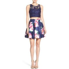 Sequin Hearts Floral Print Lace Two-Piece Dress ($88) ❤ liked on Polyvore featuring dresses, navy, two piece dresses, 2 piece dress, navy dress, lace cocktail dress and navy blue cocktail dress