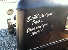 A man;s corner Mini Trucks, Cool Trucks, Cool Cars, Cool Car Stickers, Car Decals, Truck Lettering, Rat Rod Pickup, Pinstriping Designs, Car Signs