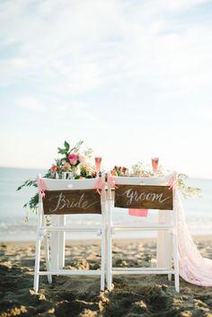 Beachy bride and groom table: http://www.stylemepretty.com/destination-weddings/2015/03/13/spanish-seaside-bridal-inspiration/   Photography: Renee Hollingshead - http://www.reneehollingshead.com/