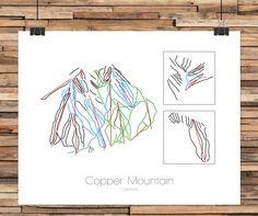 Modern line art interpretation of a ski resort trail map. Each map is hand drawn…