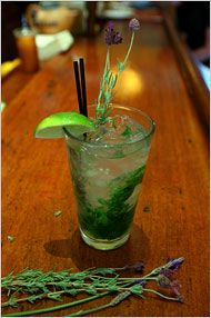 lavender mojito (lavender syrup, white rum, seltzer, mint leaves)  |  new york times |