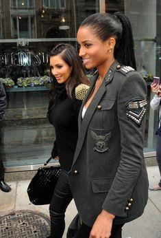 Ciara sporting a Balmain military jacket with friend Kim Kardashian in tow.