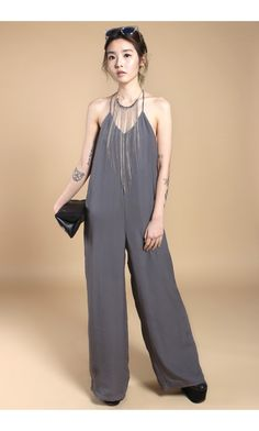 cb42c3fb8bb4 YHF - T-Zone Jumpsuit in Grey - Young Hungry Free low back jumpsuit